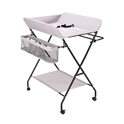 LZQBD Family Care/Folding Babywickelstation mit Speicher -Tisch mit Rädern, Wickeltisch mit Rollen Neugeborenes Dresser Tabelle Tragbare Windel-Organizer Kreuzbein Stil (Color : Gray)
