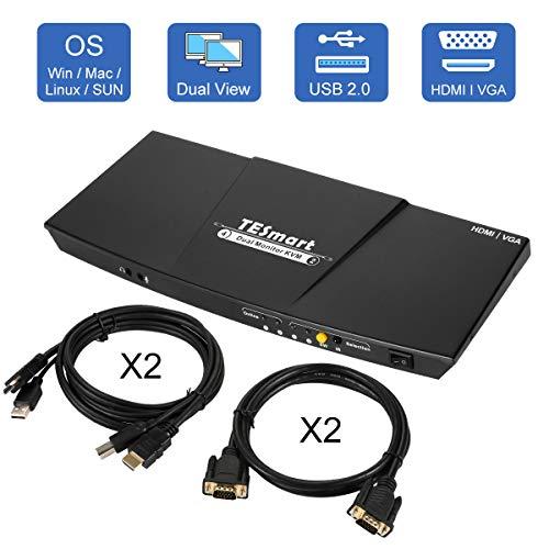TESmart Doppel Monitor KVM Switch,4K Ultra HD mit 3840 x 2160 bei 30 Hz 4:4:4; unterstützt USB 2.0 Gerätebedienung bis max. 2 Monitore und 2 Computer/Server/DVR mit 2 Stück 5ft HDMI KVM Kabeln