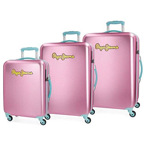 Pepe Jeans Bristol Set 3 maletas, 204 litros, 77 cm, Rosa
