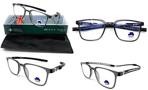New Model 2021 TR90 EXTENSIBLE Gafas de lectura con filtro bloqueo luz azul para gaming, ordenador, móvil. Anti fatiga IMAN EXTENSIBLE unisex Venice (Negro, 3.00)