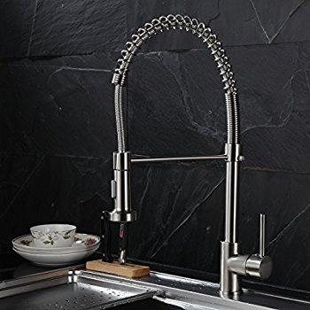 Timaco Wasserhahn Küche Einhandmischer für Küchen Spüle Gebürsteter Nickel Geschirrbrause Federbrause Mischbatterie Küchenarmatur Spültisch Armatur - 9