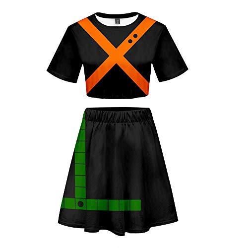 Boku No My Hero Academia Short Sleeve Round Neck Sexy Battle Suit Cosplay Anime Midriff 2pcs Outfits Black, Medium