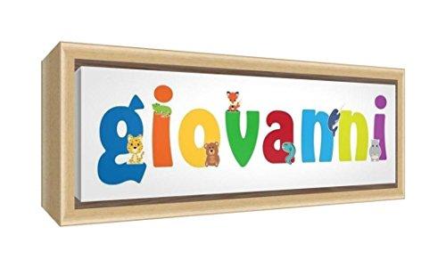 Little Helper LHV-GIOVANNI-2159-FCNAT-15IT Stampa su Tela Incorniciata Legno Naturale, Disegno Personalizzabile con Nome da Ragazzi Giovanni, Multicolore, 25 x 63 x 3 cm