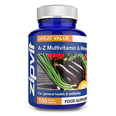 A-Z Multivitamins and Minerals, 180 Vegan Tablets. 6 Months Supply. Provides 25 Vitamins, Minerals and Micronutrients. Vegetarian Society Approved. from Zipvit