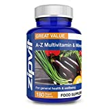 A-Z Multivitamins and Minerals, 180 Vegan Tablets. 6 Months Supply. Provides 25 Vitamins