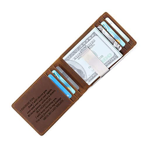Mens Minimalist Slim Metal Money Clip Engraved Leather Wallet for Husband Boyfriend from Girlfriend Wife - Personalized Custom RFID Blocking Front Pocket Bifold Travel Wallet - Mini Credit Card Holder