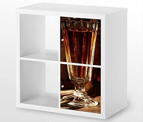 Möbelaufkleber für Ikea KALLAX / 2x Türelemente vertikal Wein Glas Uhr Jahrgang alt Kat4 Rotwein Li Aufkleber Möbelfolie Tür sticker (Ohne Möbel) 25G586