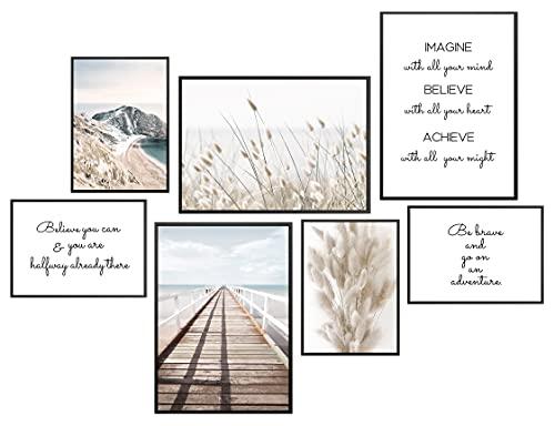 ANHUIB 7er Set Moderne Poster Set,Natur Bild,Inspirierende Zitate Wandbild,Stilvolle Poster Set Wohnzimmer,Beige Pampas Strand Bilder für Schlafzimmer Büro Home deko,3xDIN A3 + 4xDIN A4,Ohne Rahmen