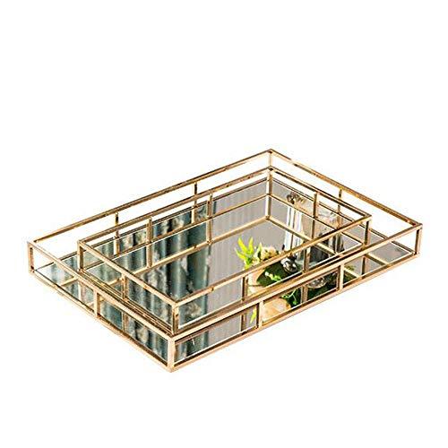 Bandeja decorativa La decoración del hogar espejo de maquillaje bandeja de caja de cristal de metal, que se utiliza for la pantalla la bandeja de distribución y almacenamiento de joyería para baño