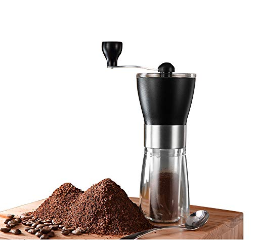 T-mark Manual Coffee Grinder, Hand Portable Bean Mill Stainless Steel Handle Adjustable Ceramic Burr Assembly for Travel