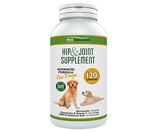 PetAmazed Advanced Hip & Joint Supplement for Dogs 120 capsules, Natural Pain Relief: Glucosamine, Chondroitin, MSM, Vit C & Hyaluronic Acid UK made, reduce Stiff Joints, Hip Dysplasia, more Mobility