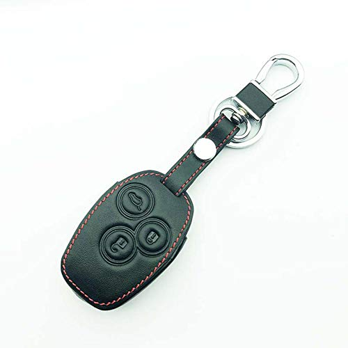 DfelBAP Llavero de Cuero con Cubierta de Llave de Coche, 3 Botones, Caja de Llave remota de Cuero para Coche, para Renault/Opel Vivaro Movano