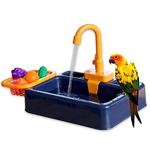 Comedero para pájaros, piscina para mascotas, bañera automática para pájaros con grifo, bañera para pájaros pequeños medianos, loros, periquitos, cacatúas (contiene juguetes pequeños) ( Color : A )