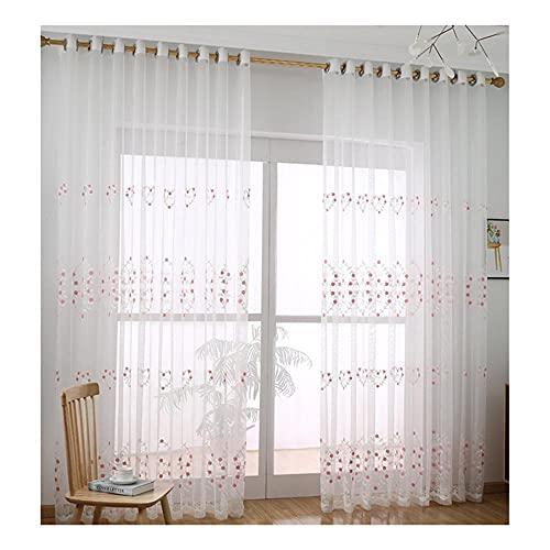 Hinleise Cortinas de gasa de tul para cortina de división semitransparente con forma de corazón y flor transparente para sala de estar, balcón, oficina (1 unidad)