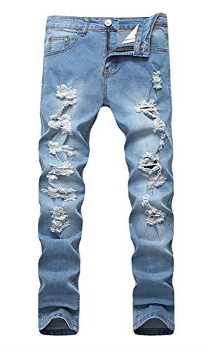 Men's Vintage Light Blue Skinny Fit Destroyed Distressed Stretch Denim Jeans 32