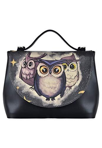 DOGO Damen Handtasche - Umhängetasche - vegan - Handy - Owls Family