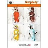Simplicity 1351 Toddler Animal Onesie Clothing Sewing Patterns, Sizes 1-4
