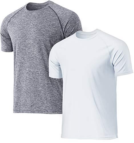 TSLA QuickrDri Athletic Outdoor Performance - Camiseta deportiva para hombre Mts32 - Pack de 2 unidades, color gris y blanco XL