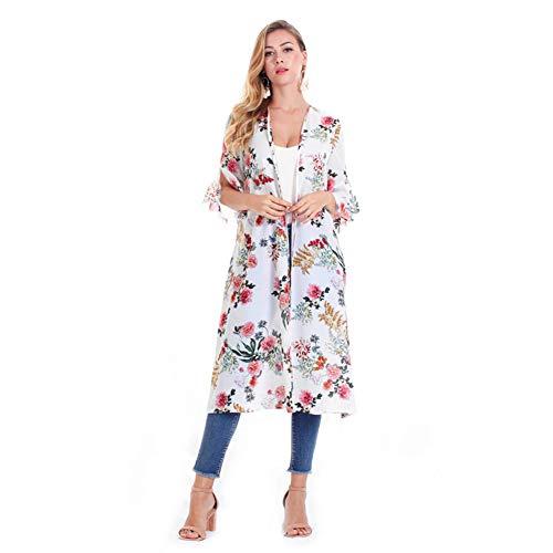 YYH Dames gebreide jas met bloemenpatroon chiffon kimono cardigan met sjaal overstijgt blouses strandjurk Medium wit