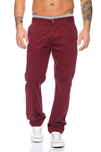 Rock Creek Herren Chino Hose Herrenhose RC-2083, Weinrot, 38W / 30L