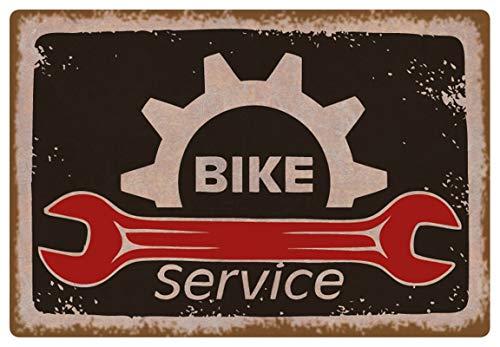 Metalen bord 30 x 20 cm Bike Service fiets werkplaats vintage bord Tin Sign