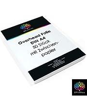 OfficeTree® 50 hojas de transparencia de alta calidad - DIN A4 transparentes - Para impresora láser, copiadora o retroproyector - Para la mejor calidad de impresión y proyección