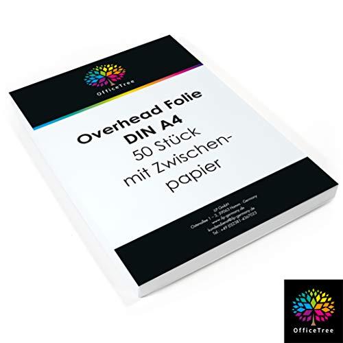 OfficeTree 50 Blatt hochwertige Overheadfolien - DIN A4 transparent - Laserdrucker Kopierer OHP - für beste Druck- und Projektions-Qualität