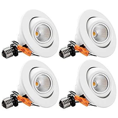 TORCHSTAR 10W 4 Inch High CRI Dimmable Gimbal Retrofit LED Recessed Light, 65W Eqv, Energy Star, Title24, ETL-Classified 2700K Soft White, Remodel Adjustable Ceiling Light Downlight, Pack of 4