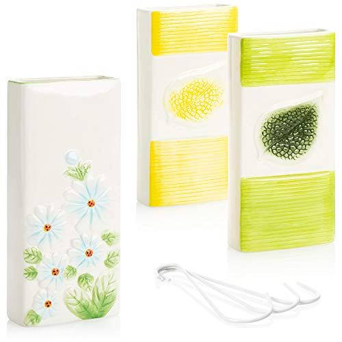 com-four® 3X Luftbefeuchter Heizung - Heizkörper Luftbefeuchter Blatt - Heizung Wasserverdunster aus Keramik im Blatt-Design - 500 ml (weiß. gelb. grün. blau)