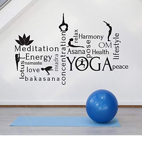 Baobaoshop Gran Pared calcomanía de Vinilo decoración del hogar meditación energía Huella de Manos Yoga Mundo Nube armonía Autoadhesivo Arte Mural 66x42cm