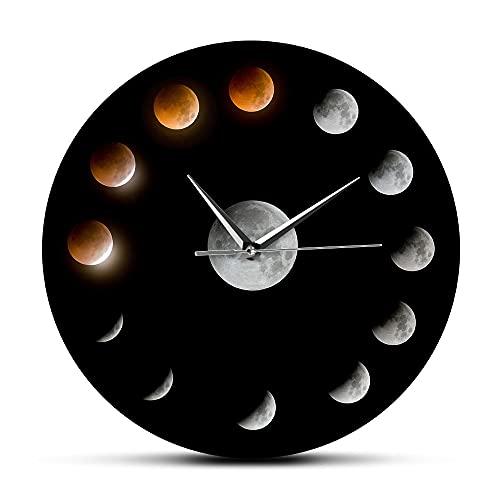 NIGU Día del miembro regalos para las mujeres Serie de Total Lunar Eclipse Fases Luna Super Luna Celestial Reloj de Pared Espacio Exterior Ciclo Lunar