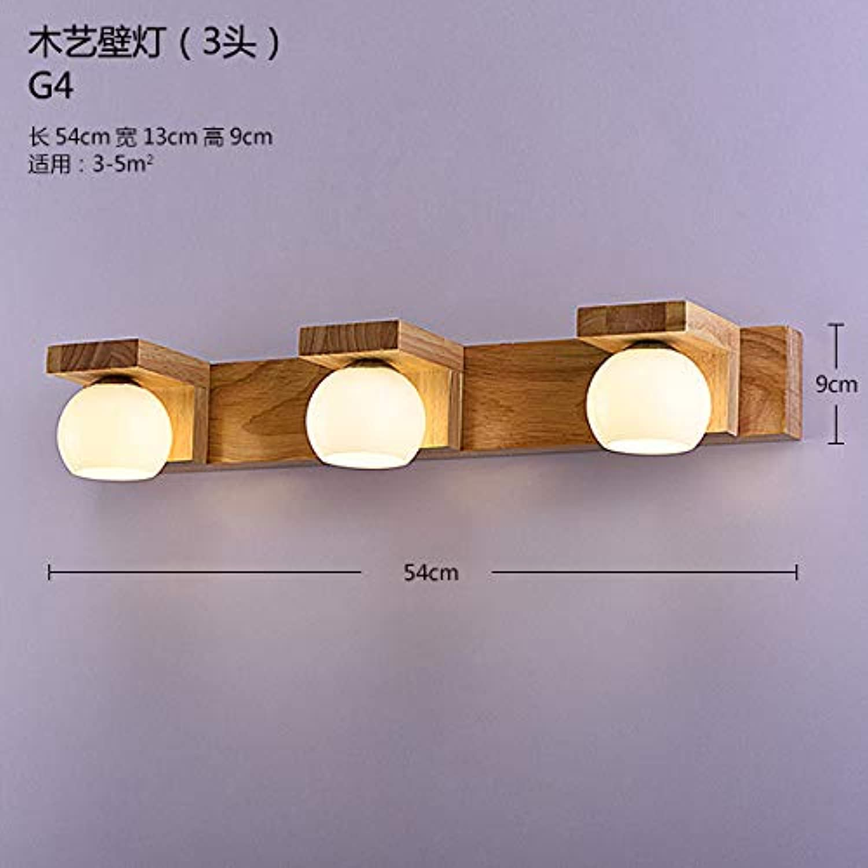 StiefelU LED Wandleuchte nach oben und unten Wandleuchten Massivholz Spiegel vorne Lampen Wohnzimmer Schlafzimmer Wand lampe Nachttischlampe wc led Holz, drei Kopf