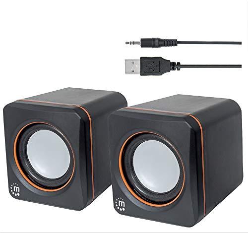 Manhattan USB Lautsprecher Set (5 Watt, 3,5mm Klinke Stecker, USB-Stromversorgung, für PC, Laptop, Tablet und Smartphone) schwarz/orange