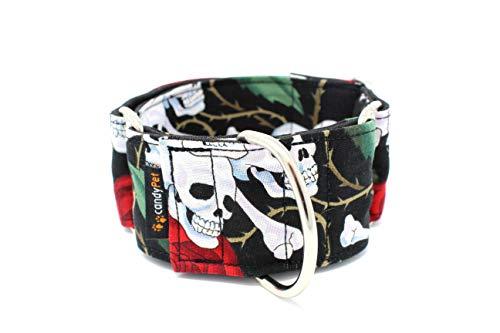 candyPet Collar Martingale para Perros - Modelo Calaveras Y Rosas, L