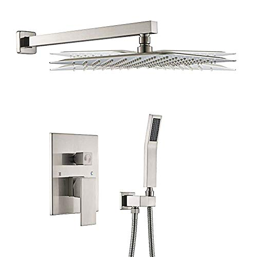 STARBATH SS01FN 12 Inch Wall Mounted Shower System with Rain ShowerHead and Handheld Shower Head, Shower Faucet Rough-in Mixer Valve and Trim Included Shower Combo Set, Brushed Nickle
