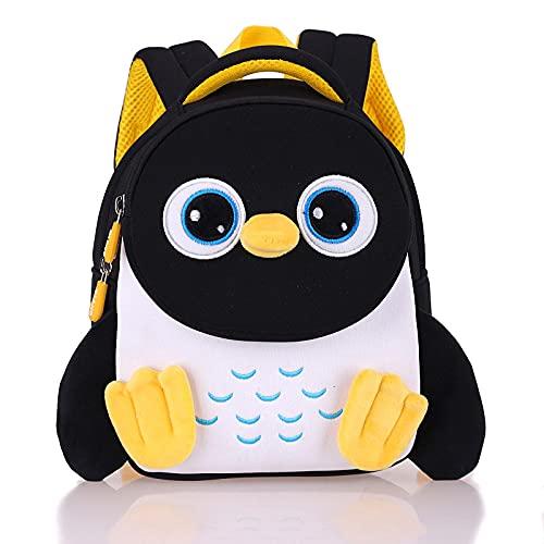 QINX Mochila infantil con diseño de pingüino, para niños pequeños, escuela, bolso 3D, dibujos animados, guardería, para niños y niñas, 2-5 años, color azul