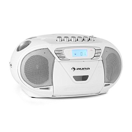auna KrissKross - Boombox, CD-Radio, Radio, CD- / MP3-Player, Kassettendeck, UKW Radiotuner, MP3-fähiger USB-Port, AUX-Eingang, Netz- / Batterie-Betrieb, LCD-Display, tragbar, weiß