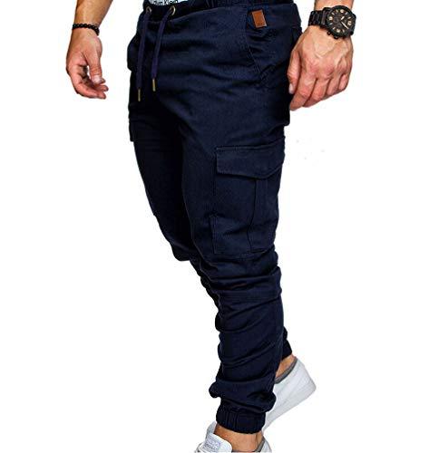 Men Pants Hip Hop Trousers Casual Streetwear Joggers Pantalon Hombre Sweatpants (Navy Blue)
