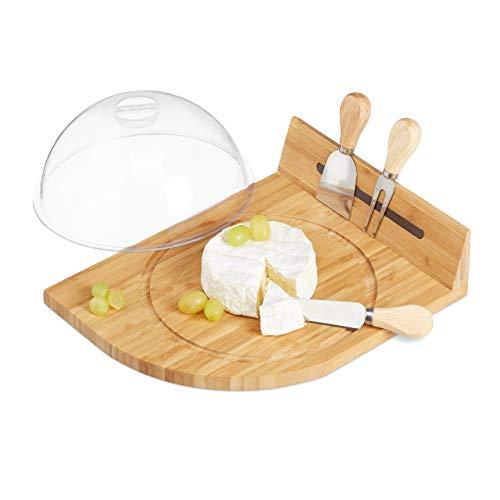 Pratico: vassoio per tagliare e servire il formaggio - per cheddar, limburger, gorgonzola ecc Posate da formaggio: set da 3 posate con una forchetta, un coltello da formaggio e da parmigiano Con campana: tagliere con intaglio per copertura in plastic...