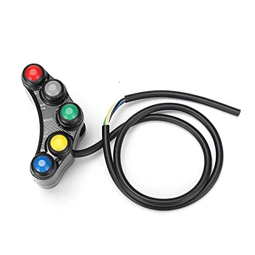 YYOMXXOM Modificación de 12V Interruptores de Motocicleta 22 mm Montaje de Manillar Montaje de Cabeza Señal de Giro Fog Luces DE Luces CUERZA Ajuste DE Ajuste 7 Funciones