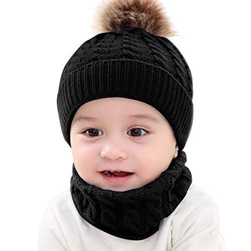 MHOYI Kinder Baby Winter Warm Gestrickter Mütze Schal Sets,Kleinkind Baby Strickmütze Schal Beanie Mütze Fellbommel Neck Warmer für 0-36 Monate Baby Mädchen Jungen Säuglings Kinder(Schwarz)