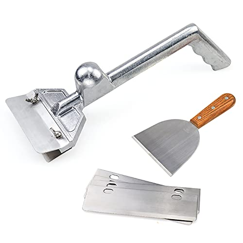 SHANGPEIXUAN Grill Scrapers, Heavy Duty Casting Aluminum Commercial Griddle Scraper with 5 Blades and Small Slant Edge Grill Scraper