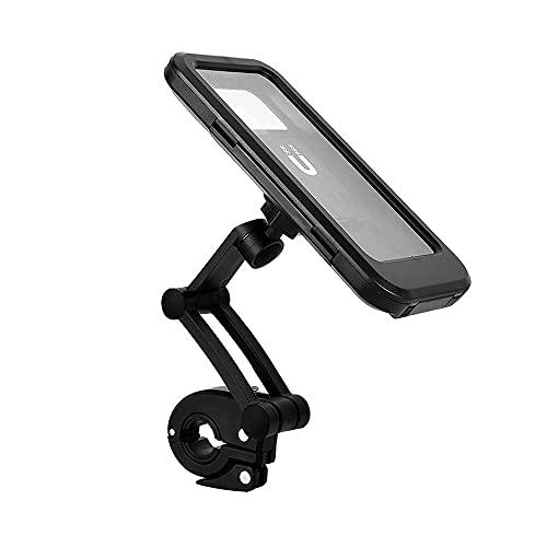 CJBIN Soporte de teléfono móvil para bicicleta, resistente al agua, soporte para teléfono móvil, giratorio 360°, soporte universal para manillar de bicicleta, color negro