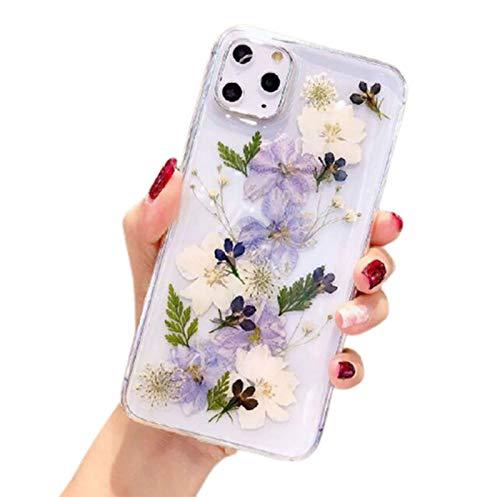 WODETIAN Real Flower Funda Compatible con Carcasa iPhone 11/11 Pro / 11 Pro MAX Transparente Suave TPU Flexible de Goma prensada en Seco Floral Real para Niña,Púrpura,11pro MAX