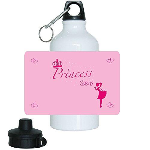 Trinkflasche mit Namen Saskia und schönem Prinzessin-Motiv für Mädchen