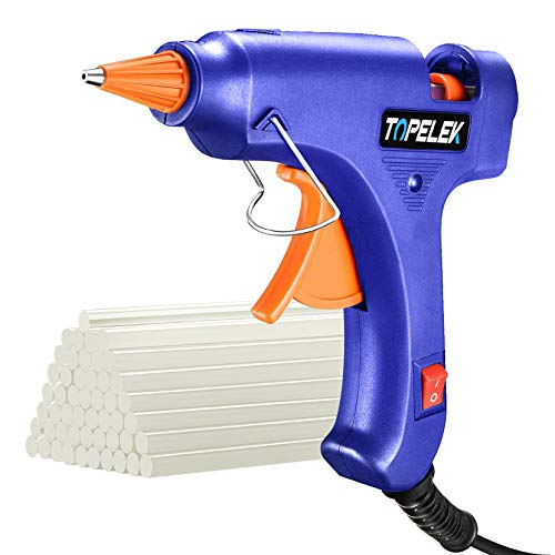 TOPELEK Mini Hot Glue Gun with Sticks(50pcs 100mm), Heat Up Quickly 20W Mini Heating Hot Melt Glue...