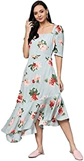 pluss Women's Blue Printed A line Dress (LDR7860-SUMMERPRINT-4XL)