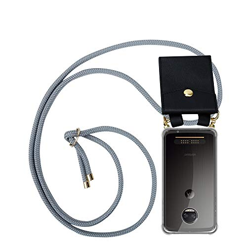 Cadorabo Handy Kette für Motorola Moto Z2 Force in Silber GRAU - Silikon Necklace Umhänge Hülle mit Gold Ringen, Kordel Band Schnur & abnehmbarem Etui – Schutzhülle