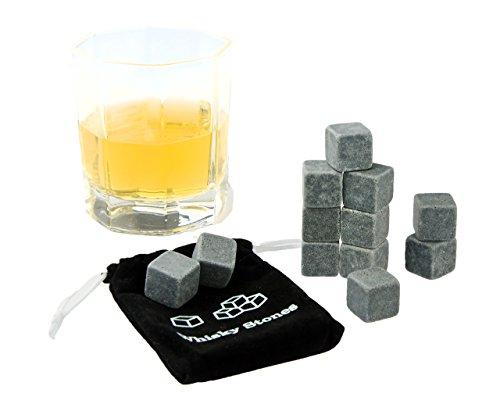 KOBERT GOODS - 12 Whisky-Steine in Farbe Grau Eckig - wiederverwendbare Kühlsteine aus echtem Speckstein od. gebürstetem Edelstahl - Eiswürfelersatz (eckig/ oval) für perfekte Kühlung ohne Verwässerung - mit Stoffbeutel