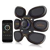 YOAKUEE Six Pack - Aparato de entrenamiento eléctrico para abdominales y músculos de brazos controlado por aplicación de smartphone, conexión Bluetooth, 50 niveles de intensidad
